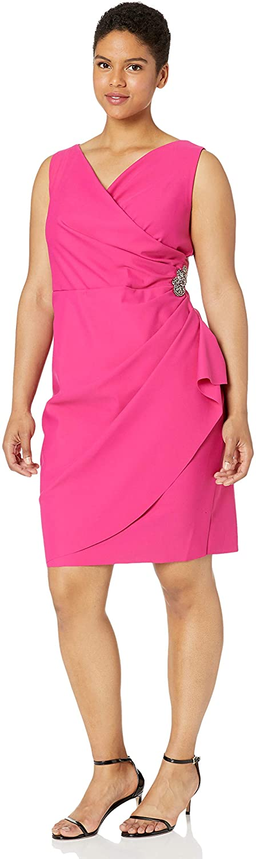 Alex Evenings Women's Plus Size Short Side Ruched Dress with Cascade Ruffle Skirt