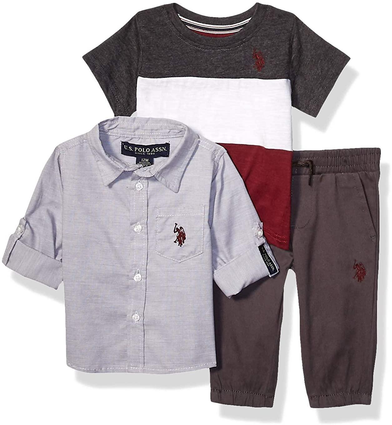 U.S. Polo Assn. Baby Boys Long Sleeve Woven Shirt, Color Block T-Shirt, and Jogger Set Pants