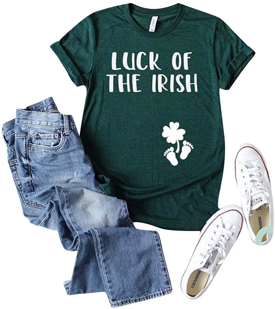 Mikey Store Women ST. Patrick's Day Green O-Neck Short Sleeve Tank Top T-Shirt Blouse Tunics