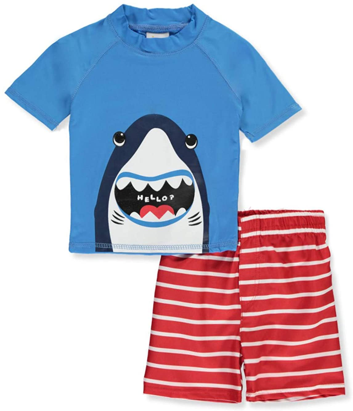 Sweet & Soft Baby Boys' Sharks and Stripes Rash Guard 2-Piece Shorts Set Outfit Royal Blue/Red
