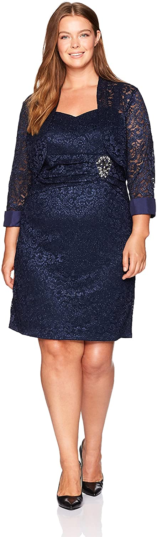 Jessica Howard Women's Plus Size Lace Bolero Jacket Dress