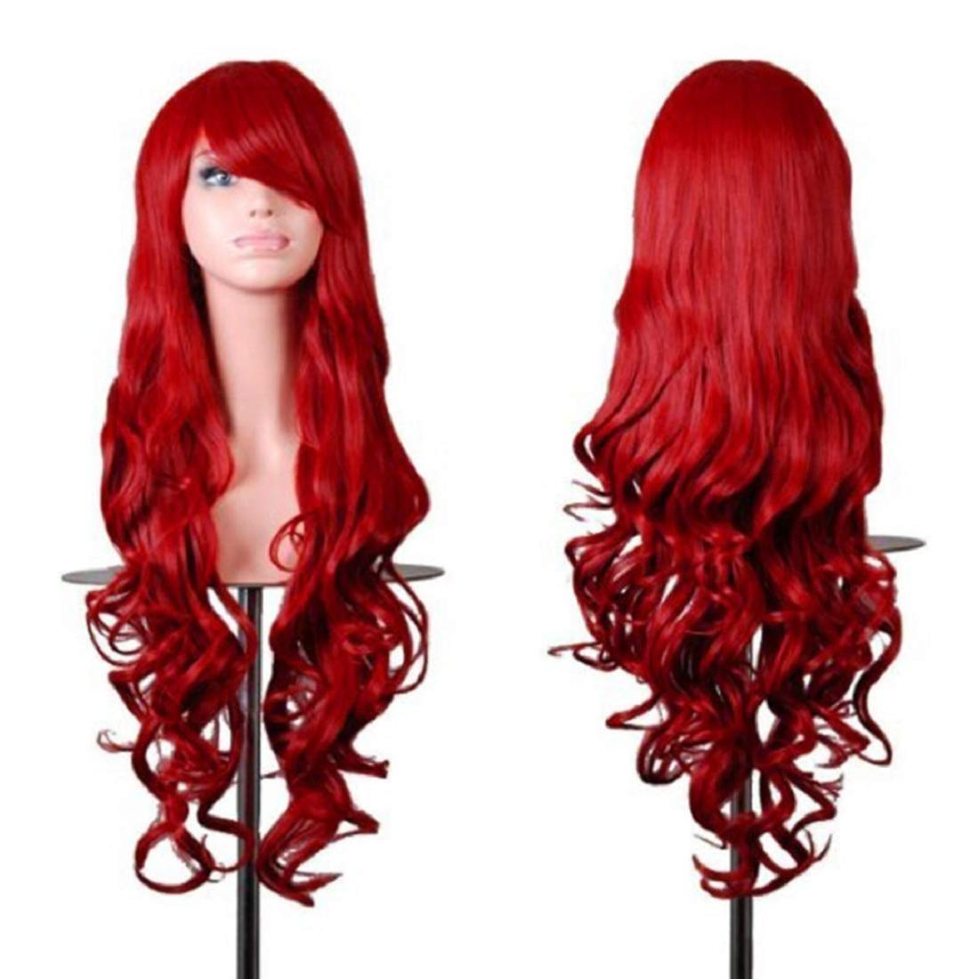 Rbenxia Wigs 32 Women Wig Long Hair Heat Resistant Spiral Curly Cosplay Wig Anime Fashion Wavy Curly Cosplay Daily Party Red