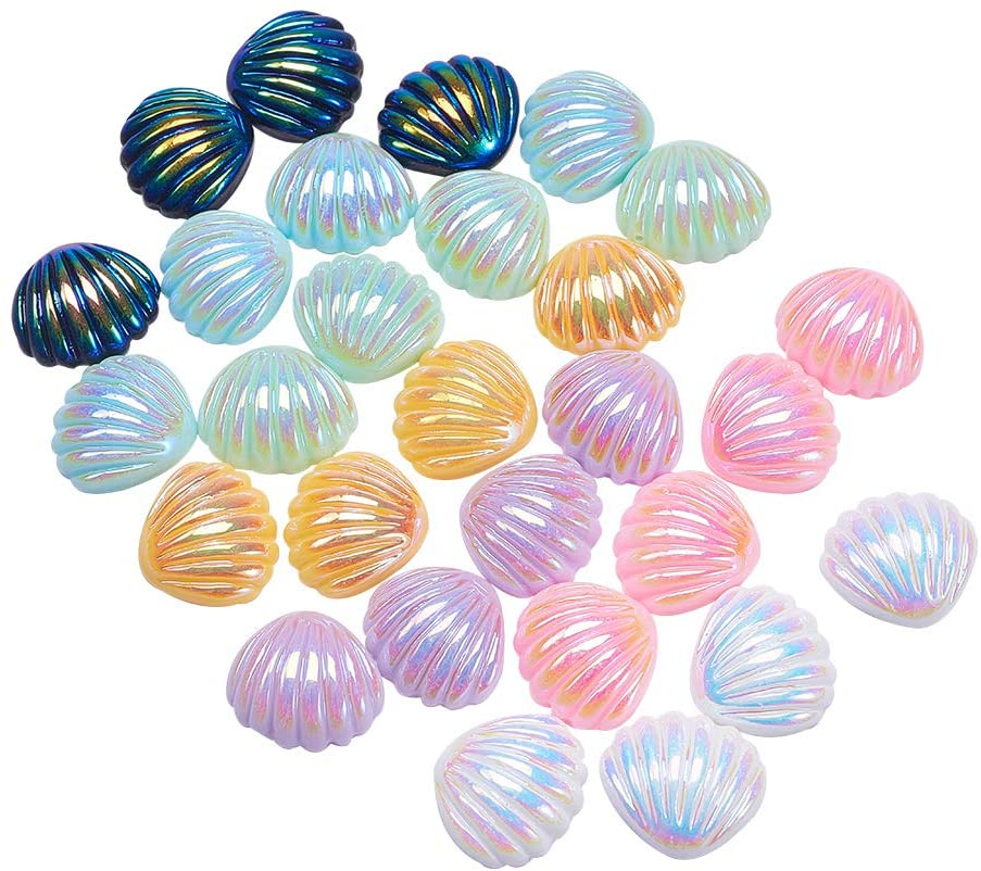 LiQunSweet 200 Pcs AB Color Shell Slices Seashore Theme Resin Cabochons Embellishments Jewelry Making Findings Craft DIY Hairpin Headwear Miniature Fairy Phone Scrapbooking Home Decorations - 21x19mm