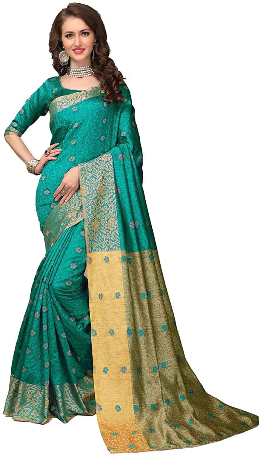 Saree for Women Bollywood Wedding Designer Teal Sari with Unstitched Blouse.