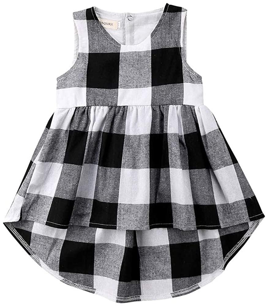 Kids Toddler Baby Girls Summer Dress Outfit Sleeveless Plaid Irregular Princess Party Dresses Clothes