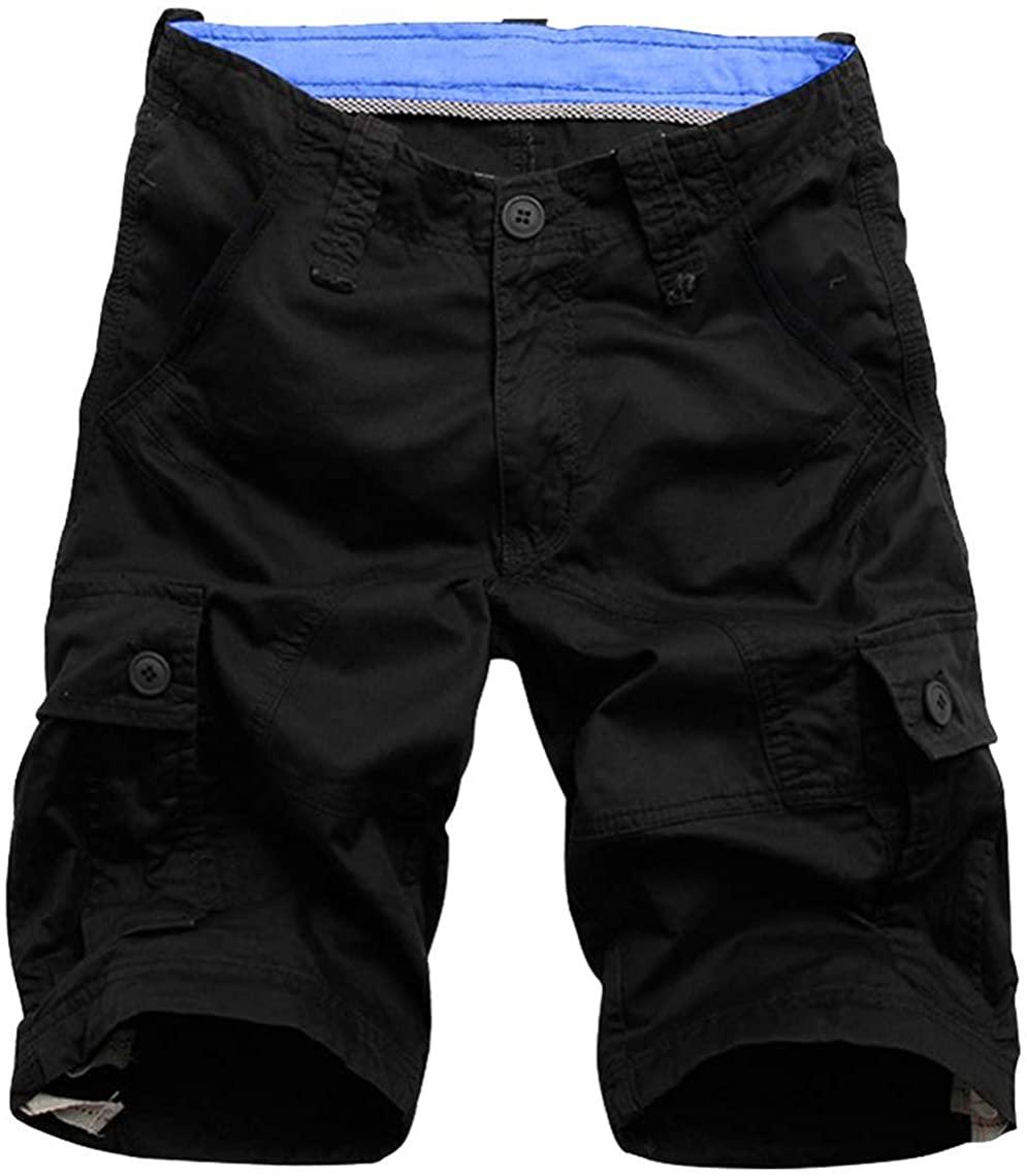 Flora Florida Men's Cargo Shorts Cotton Casual Relaxed Fit Multi - Pocket (42/Waist:42'', Black)
