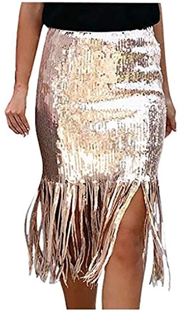 Cardigo Casual Womens Sequined High Waist Fringe Skirt Bag Hip Skirt