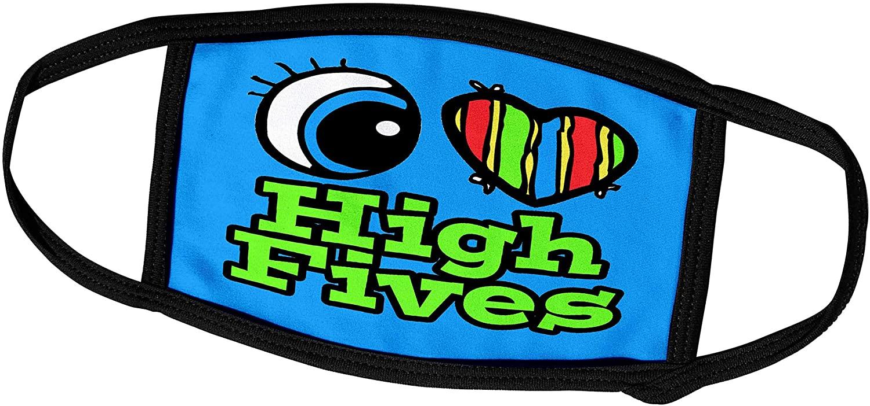 3dRose Dooni Designs Eye Heart I Love Designs - Bright Eye Heart I Love High Fives - Face Masks (fm_106160_2)