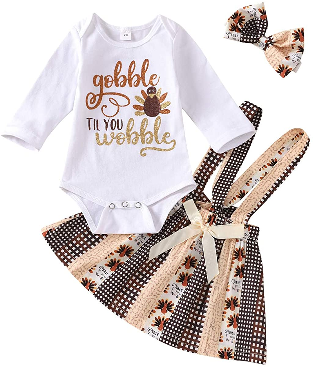 Thanksgiving Outfits Newborn Baby Girls Turkey Romper+Suspender Strap Skirt Dress Fall Clothes Set