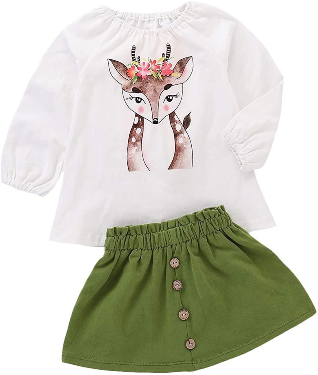LYSMuch Toddler Kids Baby Girls Dress Printed Long Sleeve Green Princess Skirt Suit