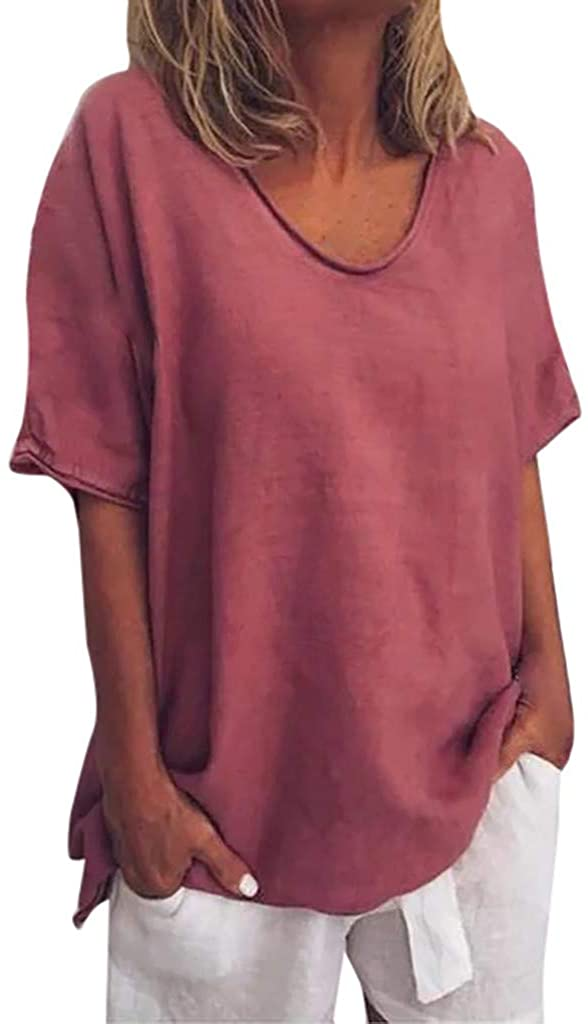 Mimfor Women Casual Summer Solid O-Neck Short Sleeves Plus Size Top T-Shirt Blouse