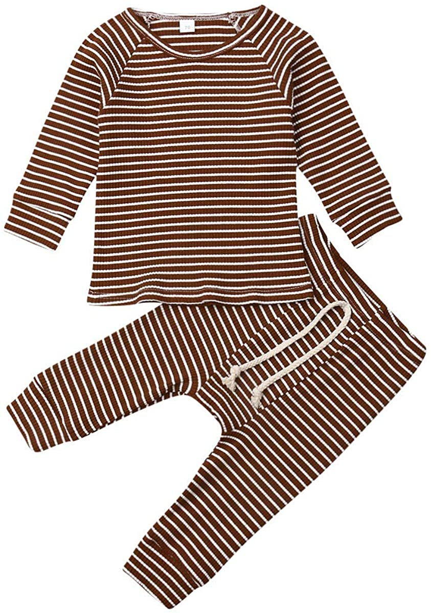 Unisex Baby Pajamas, Baby Girl Boy Clothes Striped Long Sleeve T-Shirt Tops Pants 2PCS Outfit Set