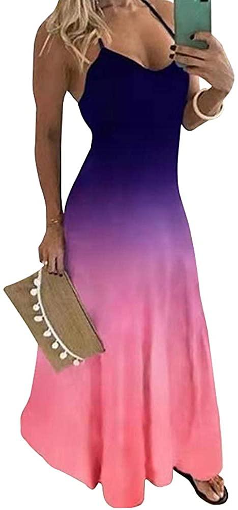 WUSENST Plus Size Women's Casual Spaghetti Maxi Dresses Sexy Bodycon Swing Sundress Summer Dress