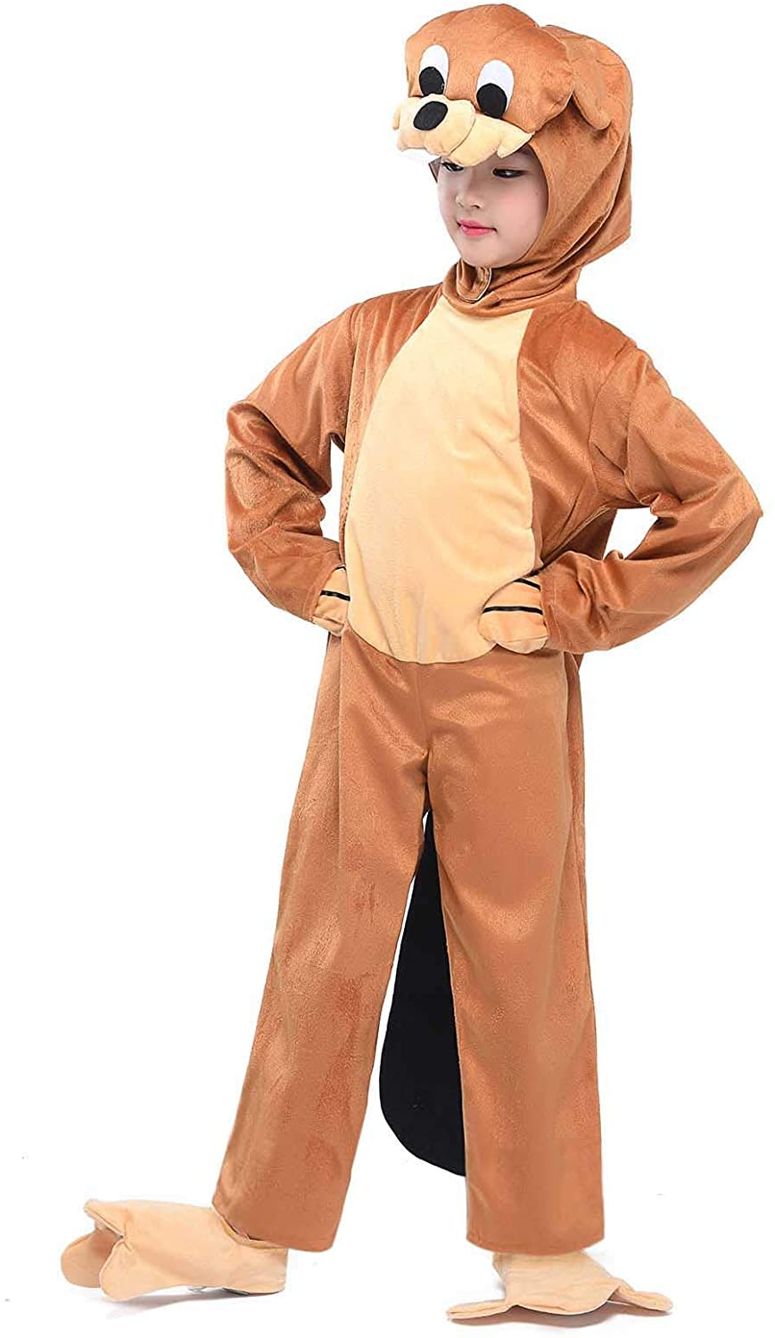 Beaver Costumes Kids Animals Pajamas Cosplay Child Fancy Dress Jumpsuit Outfit (Beaver, S)