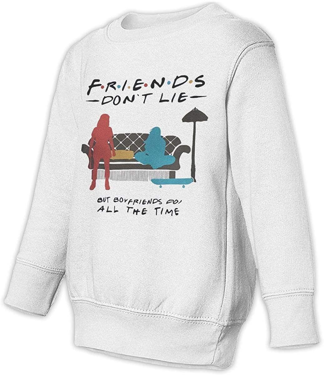 NOT Friends Don't Lie Unisex Sweatshirt Youth Boy and Girls Pullover Sweatshirt White