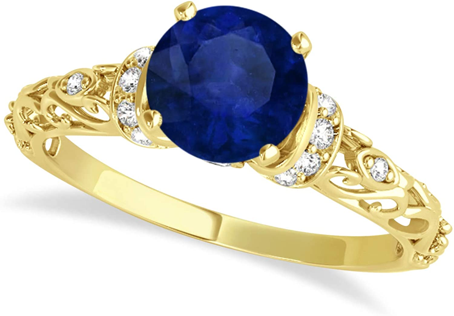 (1.62ct) 14k Yellow Gold Blue Sapphire and Diamond Antique-Style Engagement Ring