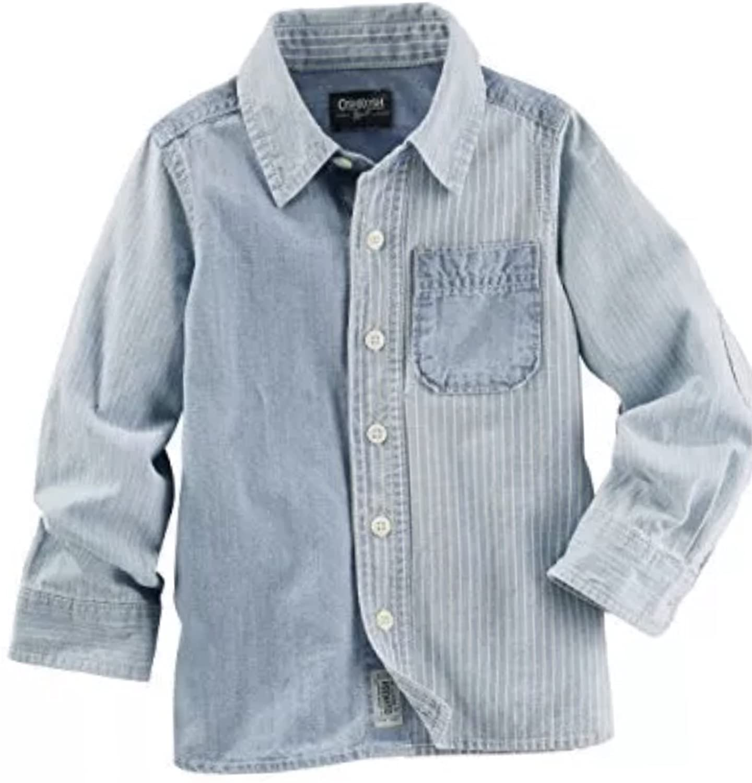OshKosh Bgosh Big Boys Denim Block Button Front Shirt, Kids