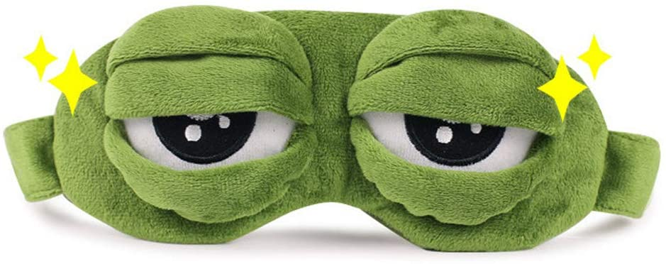 3D Cute Frog Sleep Eye Mask Green Cartoon Sad Frog Eye Mask Cover Sleeping Rest Travel Anime Funny Gift