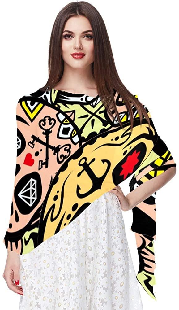 Lightweight Scarves for Women, Death's Day Frida Kaklo Mexican Skulls Flowers, Shawl Fashion Scarves Sunscreen Shawls