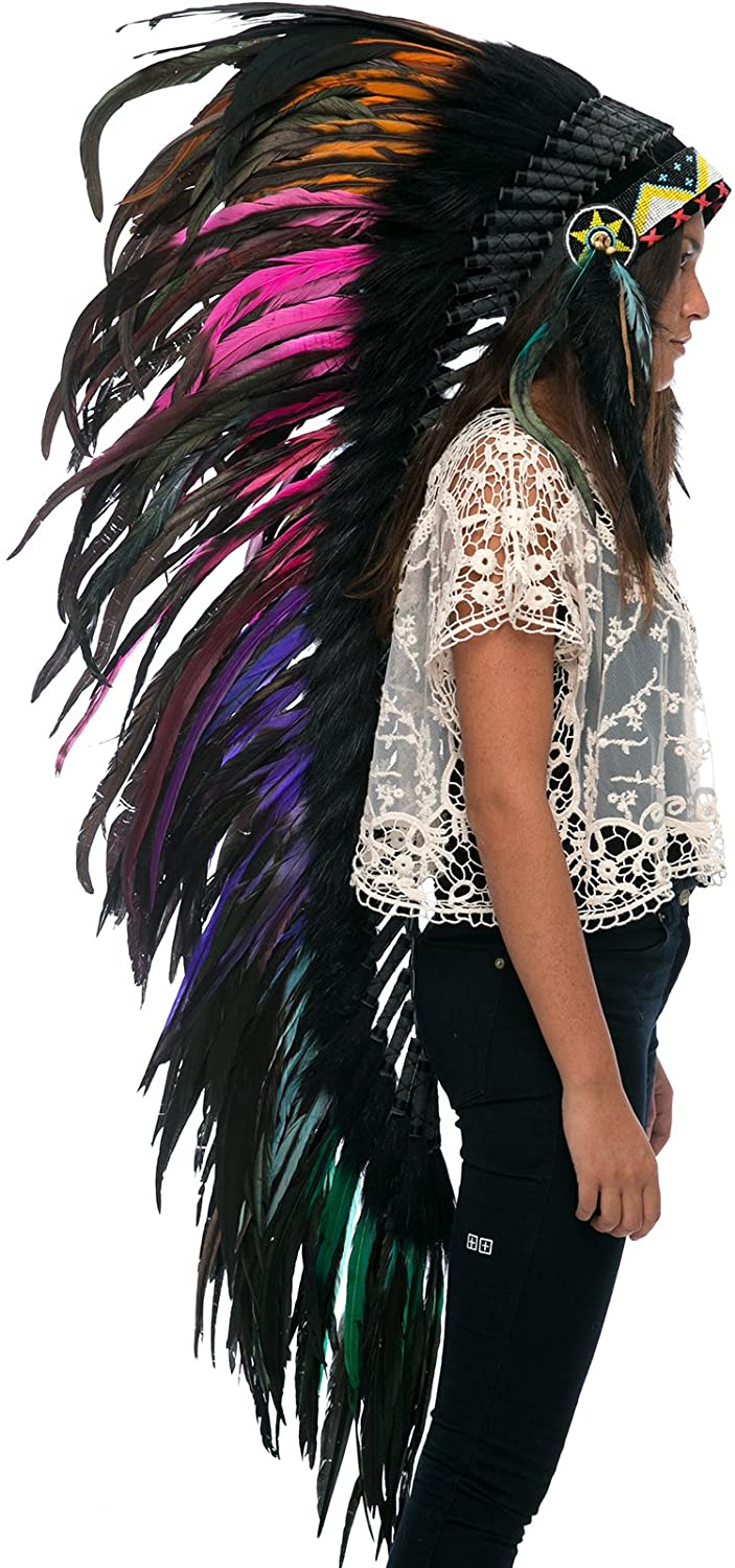 Extra Long Feather Headdress- Native American Indian Inspired- Electric