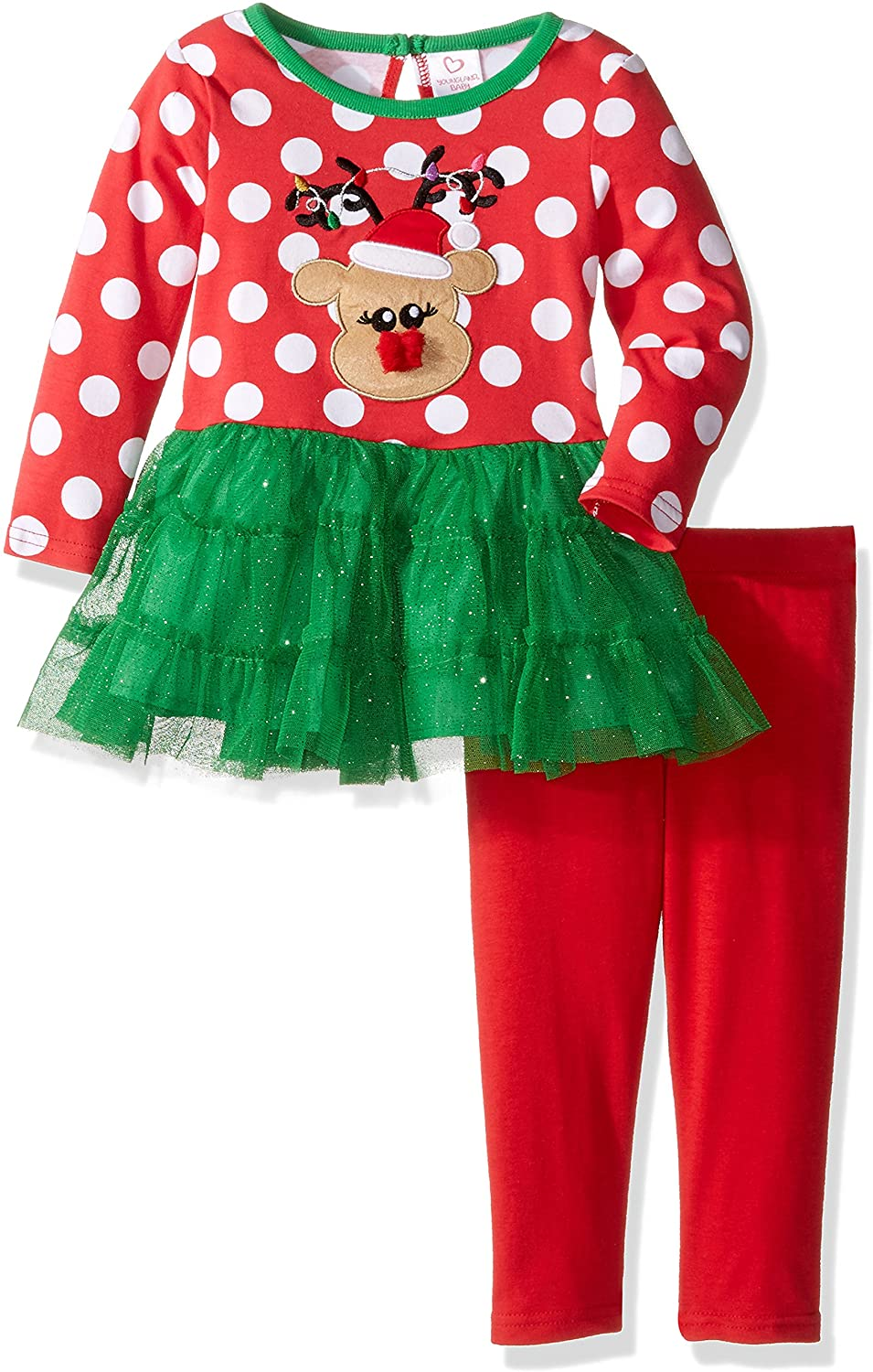 Youngland Baby Girls' Reindeer Tutu Dress and Knit Legging