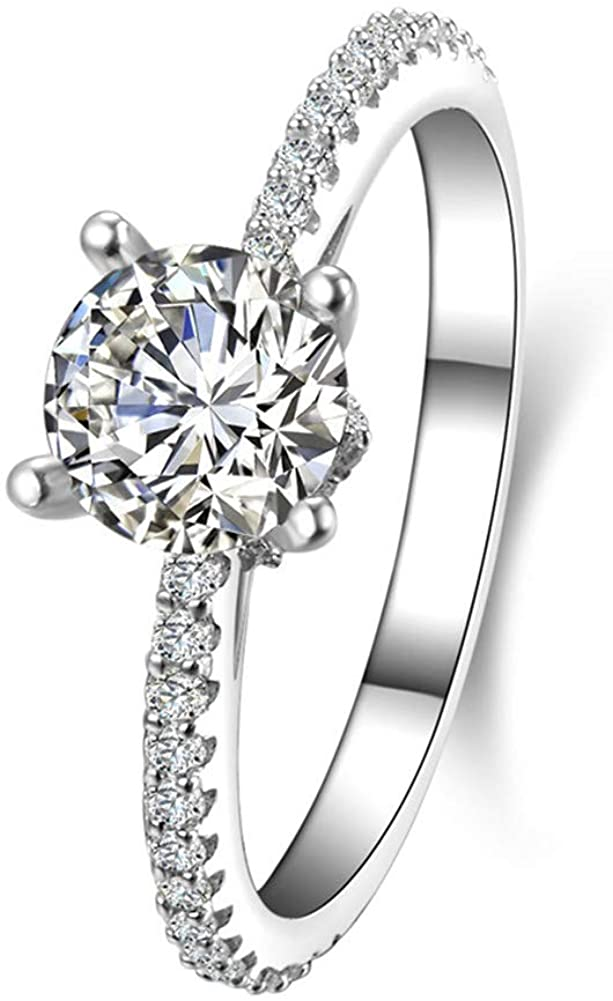 DYUNQ 1 Ct Halo Solitaire Cubic Zirconia 925 Sterling Silver Promise Engagement Ring Sizes 5 to 8