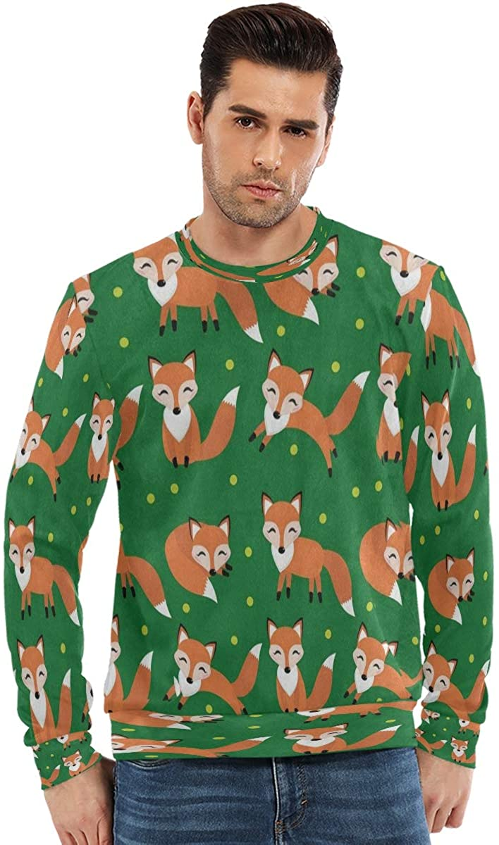 SLHFPX Long Sleeve Sweatshirt Men Hipster Polka Dot Fox Green College Crewneck Hoodless Sweatshirts Boys