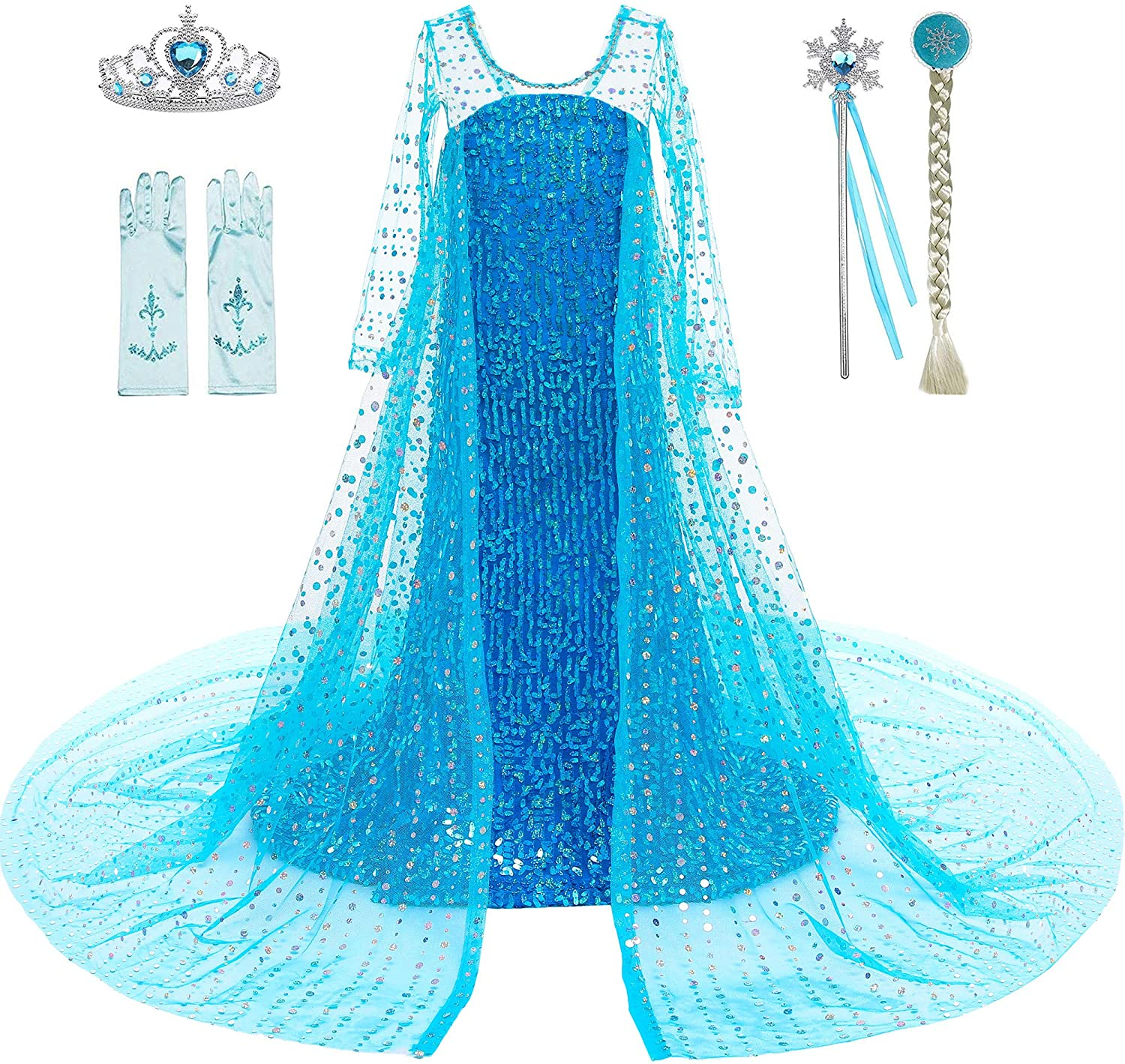 Princess Elsa Costume for Girls Birthday Party Dress up with Tiara,Wand,Wig,Gloves for Little Girls 3-12 Years