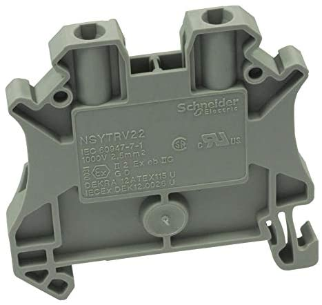 NSYTRV22 - DIN Rail Mount Terminal Block, 2 Positions, 26 AWG, 12 AWG, 4 mm², Screw, 24 A, (Pack of 20)