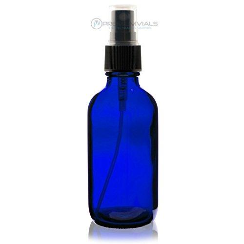 Premium Vials 4OZBRBLSP0012-ZT 4 Oz (120 ml) Blue Boston Round Glass Bottle with Black Fine Mist Sprayer (Pack of 12)