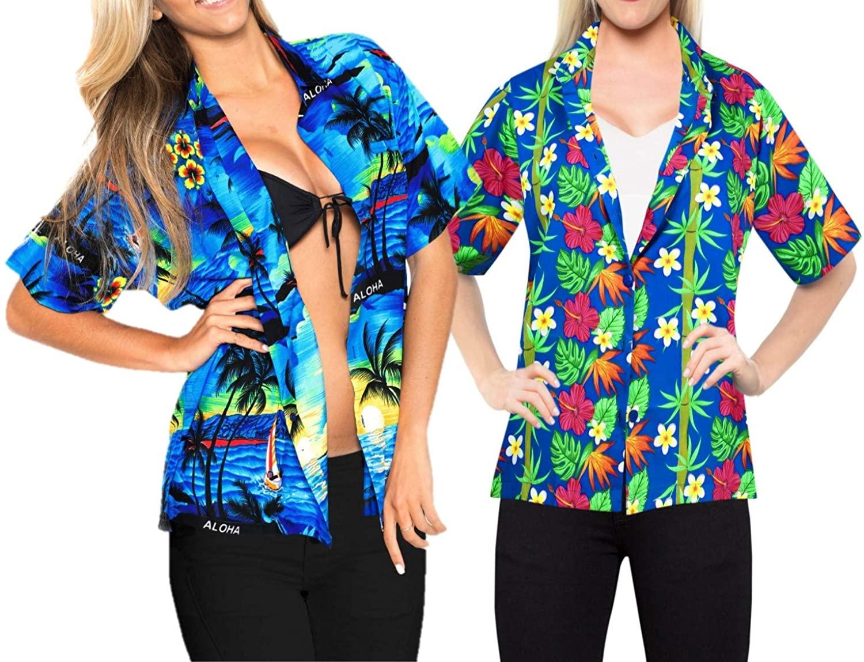 LA LEELA Women's Summer Tropical Tunic Hawaiian Beach Shirt Swimwear L Work from Home Clothes Women Blouse Pack of 2