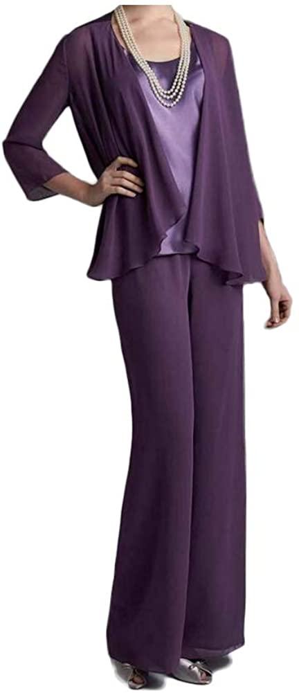 Women's Chiffon 3 Pieces Mother of The Bride Pant Suits Outfit Pantsuits Plus Size