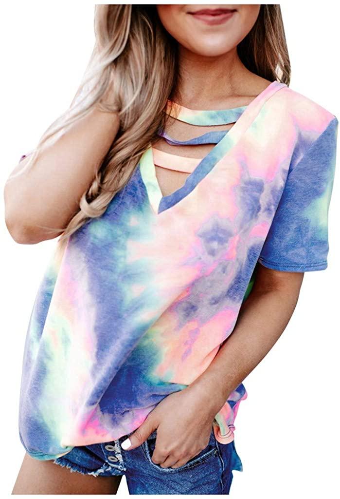 GLVSZ Women's Criss Cross Tops Casual V Neck T Shirt Gradient Printed Short Sleeves Ladies Tie-Dye Tees Blouse