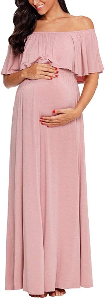Ecavus Women's Off Shoulder Ruffle Trim Maxi Maternity Dress for Baby Shower