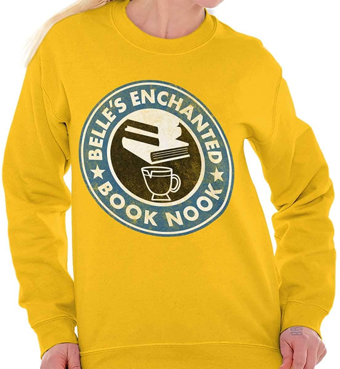 Belles Enchanted Coffee Book Nook Cute Logo Crewneck Sweatshirt
