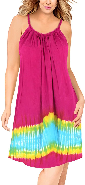 LA LEELA Women's Midi Summer Loose Beach Swing Dress for Teen Girls Hand Tie Dye