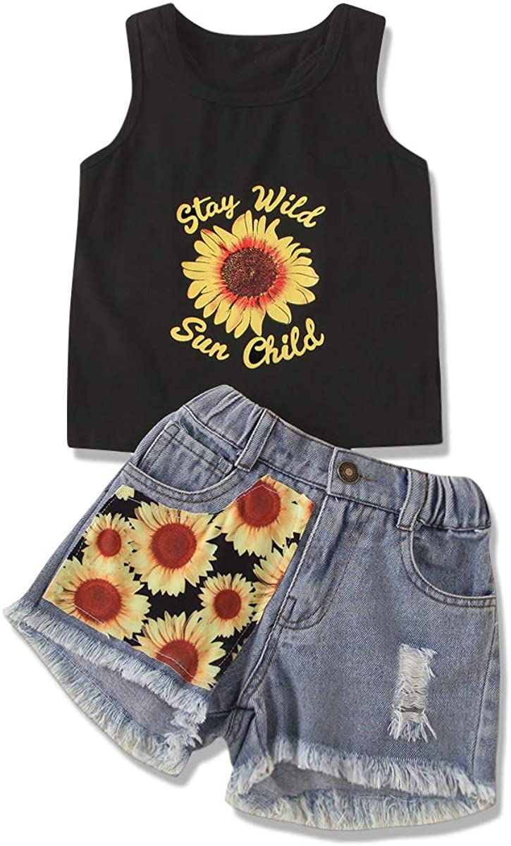 Toddler Baby Girls Clothes Sleeveless Floral Tank Vest Letter Top + Sunflower Denim Jeans Shorts Outfits