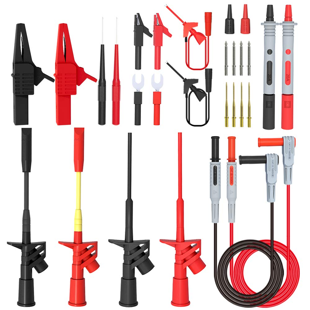 Goupchn 28PCS Multimeter Test Leads Kit with Alligator Clips High Voltage Flexible Test Probes Insulation Piercing Test Clip Replaceable Precision Sharp Probes Multifunction