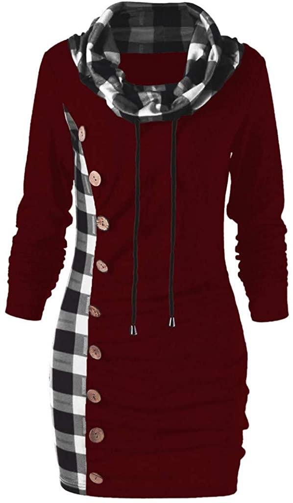 ZEFOTIM Women Sweatshirt, Women Bow-Neck Drawstring Plaid Patchwork Buttons Vintage Long Sweatshirt Top