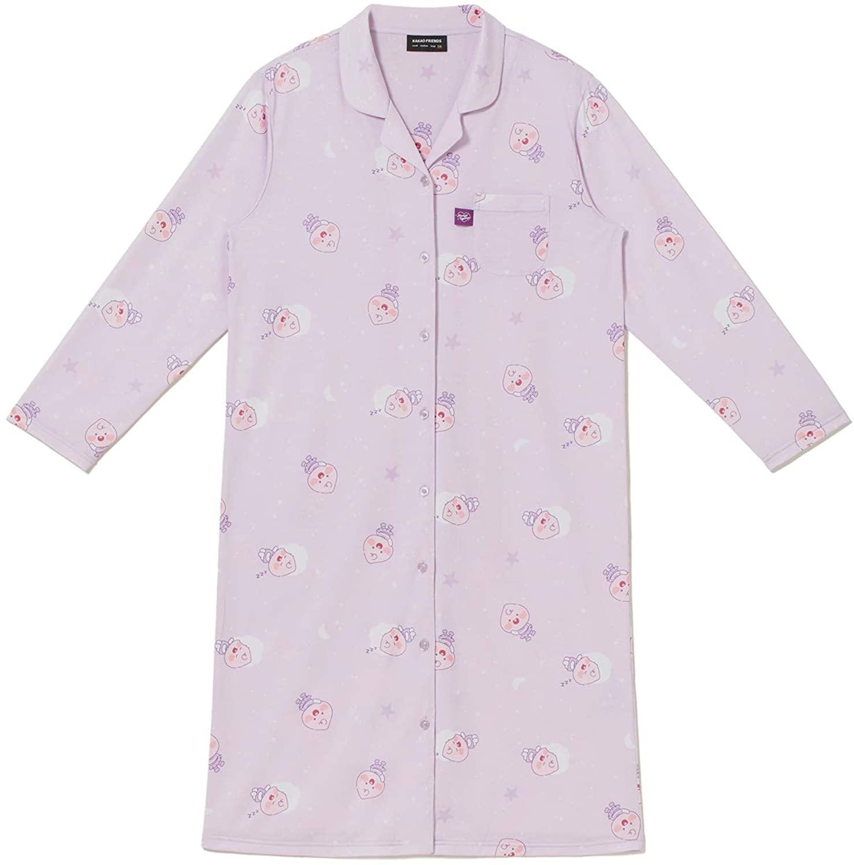 KAKAO FRIENDS Official- Twice Edition Women's Sleepwear, Long Sleeve Sleep Dress Nightgown Purple
