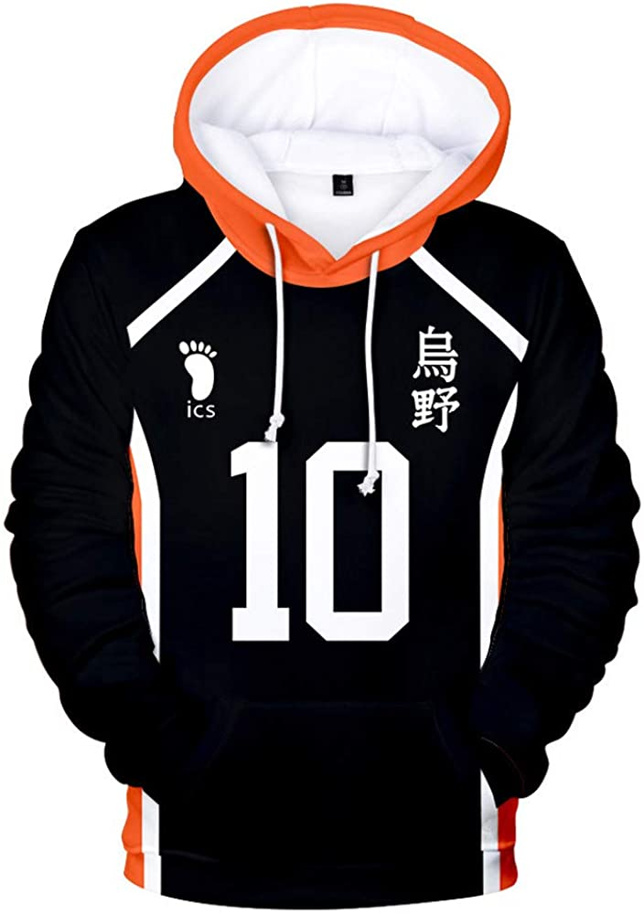 Xiao Maomi Haikyuu Cosplay Costume Hinata Shoyo Hoodie Casual Hooded Sweatshirt Pullover Sweater for Adult Halloween