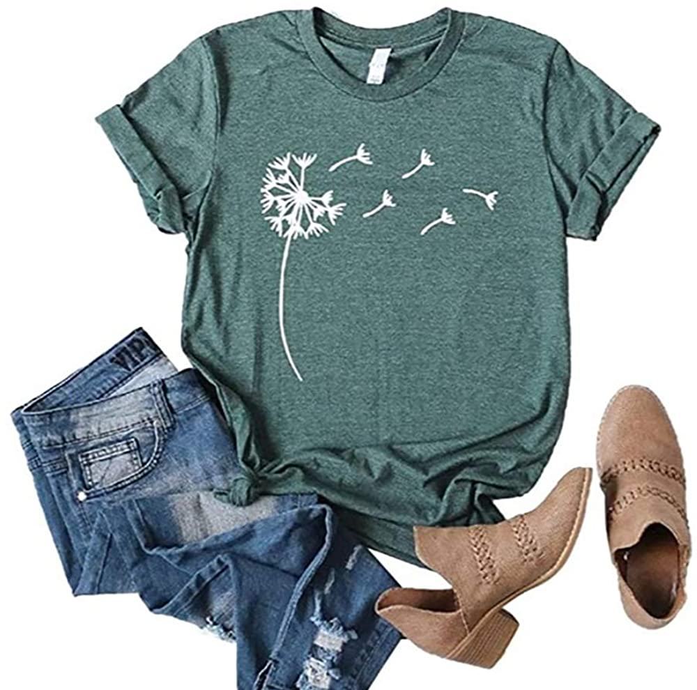 Sobrisah Women's Dandelion Shirts Summer Tops for Teen Girls Trendy Casual T-Shirt Graphic Tee S-2XL