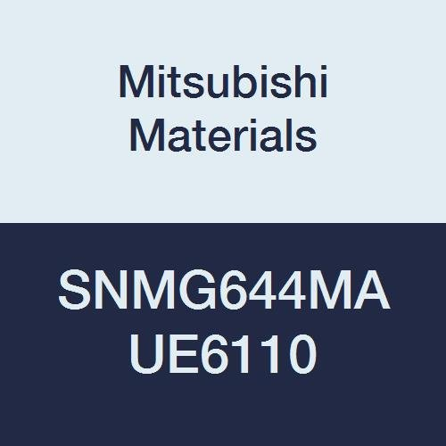 Mitsubishi Materials SNMG644MA UE6110 Carbide SN Type Negative Turning Insert with Hole, General Cutting, CVD Coated, Square, 0.75
