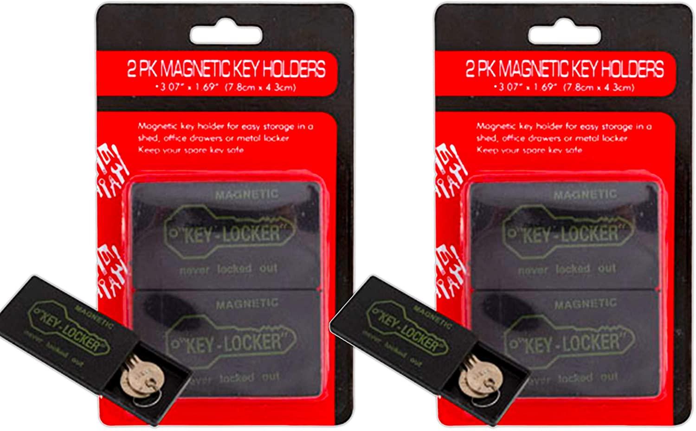 Magnetic Key Holder ~ Set of 4 Magnetic Hide-A-Key Boxes Key Lockers (Spare Key Storage for Home Office Car Safe)