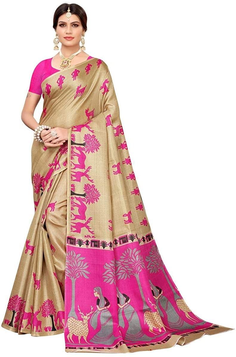 Elegant Beige-Pink Colored Casual Printed Khadi Silk Saree with Unstitched Khadi Silk Blouse Piece