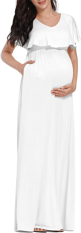 KIM S Two Ways to Wear, Ruffled V-Neck & Off Shoulder Maternity Dress, Flowy Maxi Dress with Pocket