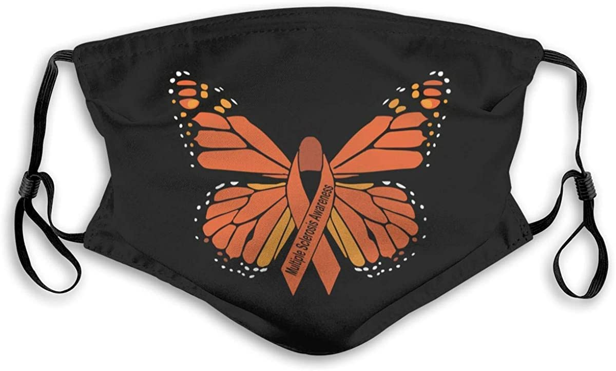Decorative Mouth Masque Cover Face,Facial Scarf,Face Guard Multiple Sclerosis Awareness Butterflies FaceUnisex Adjustable Washable and Reusable for Outdoors Black