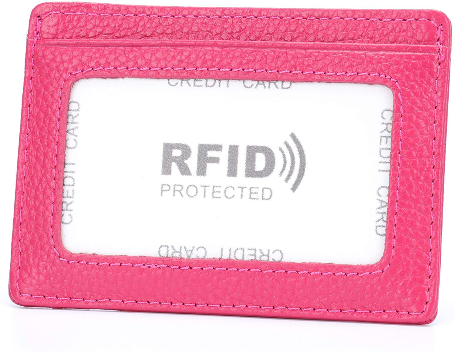 MuLier Genuine Leather Slim Credit Card Holder Front ID Window Anti-RFID Small Wallet (Rose red)