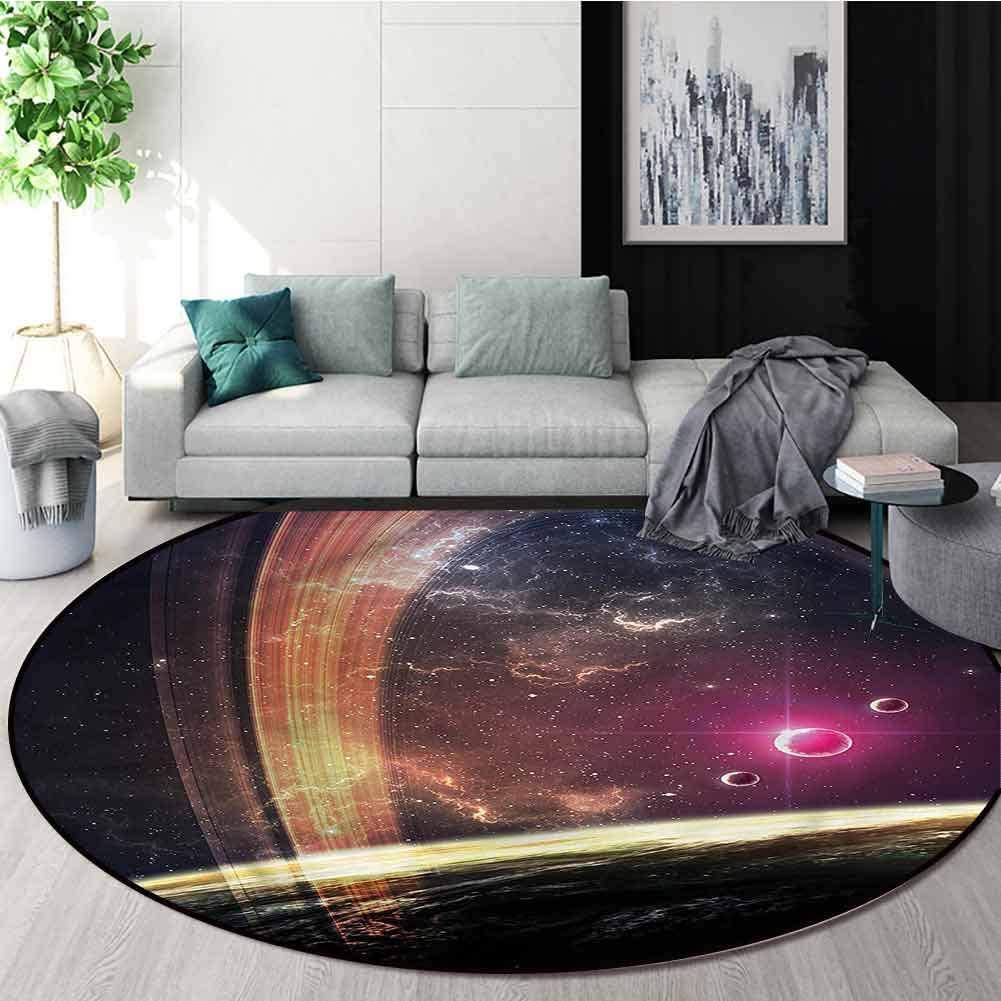 RUGSMAT Galaxy Machine Washable Round Bath Mat,Nabula Dust with Stars Non-Slip No-Shedding Bedroom Soft Floor Mat Round-47