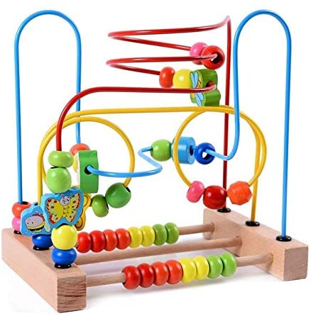 Fine Wooden Bead Maze, Wooden Baby Toddler Toy Around Bead Maze Shape Wooden Mini Bead Maze Roller Coaster Puzzle Children's Puzzle Suitable for Children Childlike (Color : Multicolor)